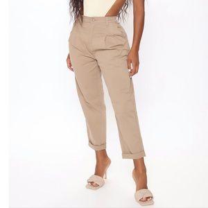 Tan High Waisted Trouser